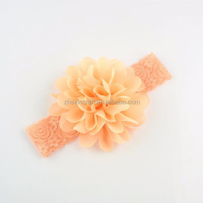 Chiffon Flower Rosette Baby Headband,Elastic Lace Hair Band made in China