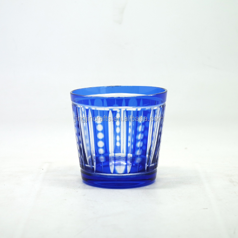 2018 Wholesale Blue Colored Engraved Glass Tumbler Tea Cup