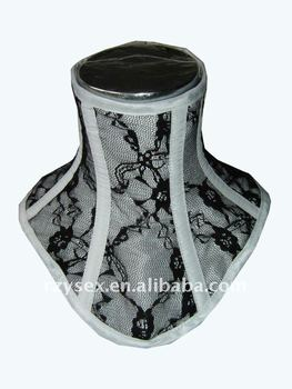 White with black lace overlay Neck corset