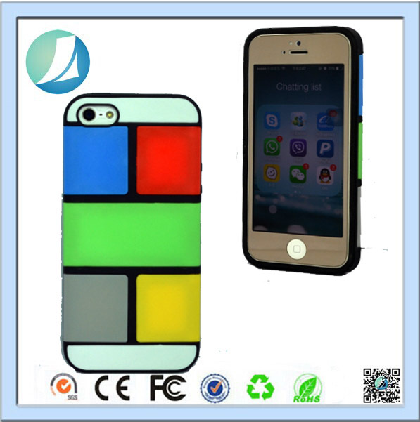 Made In China Mix Colors Puzzle TPU PC Case For iPhone 5