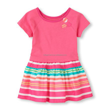 Children Kids Baby Girls Raglan Striped Dress (6M-5T)