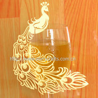 "2014 Fancy Product Party Decoration Wedding Favor! Laser Cut ""Peacock"" Wedding Wine Glass Place Card From Mery Crafts"