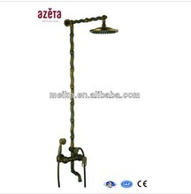 Antique Bamboo Design Brass Rain Bath Faucet Set Bathroom Shower