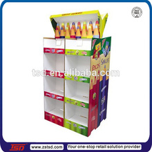 TSD-C670 custom 3 layer cardboard retail store pen display/cardboard floor stationery pencil stand/pen corrugated pop display