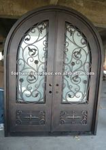 Wrought iron exterior tempered glass weather stripping exterior double storm doors grill design
