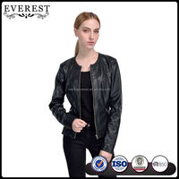 Cheap Leather Jacket Black PU Faux Leather Jacket for Women