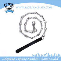 High durability chain lead with nylon handle Dog Collar and Leash