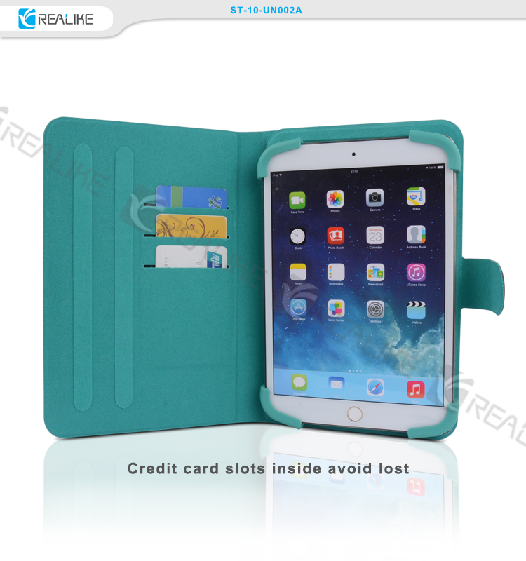New products universal leather stand 3 card slots for ipad case