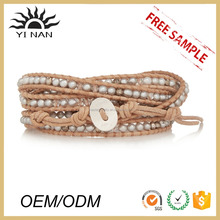 Wholesale Jewelry Lots Adjustable Leather Wrap Beaded Waxed Thread Bracelets