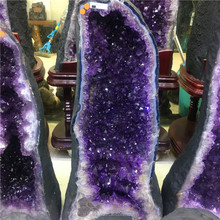 Wholesale Natural Brazilian Uruguay Amethyst Geode Crystal Home Office Ornament Decorative Amethyst Geode for Sale