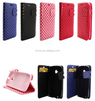 Pocketbook Checkered Leather Wallet Case Cover For Motorola Moto E 2nd Gen