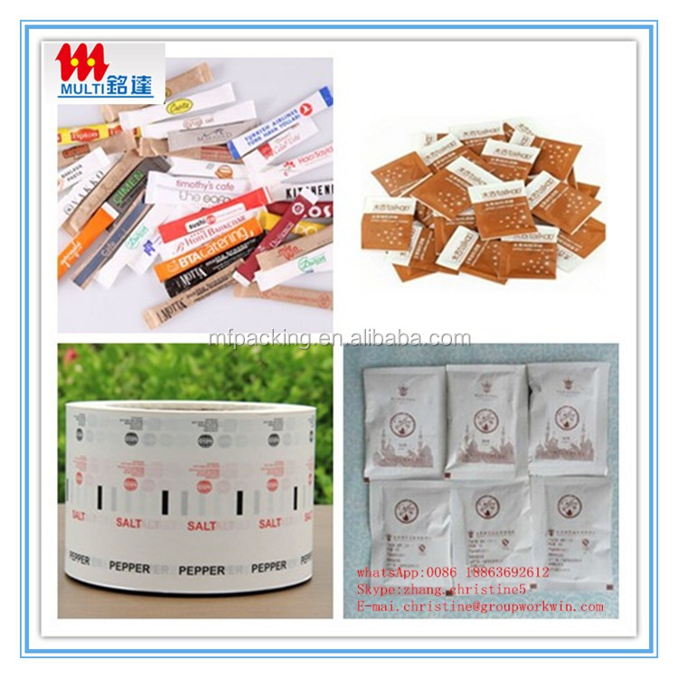 Customized food grade pe coated paper pack sugar in sachets, paper roll for packing sugar