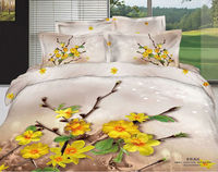King Size Yellow Flower Reactive Print Cotton Bed Linens 3D