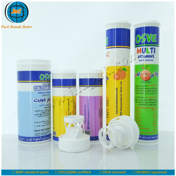 2015 best selling plastic container for vitamin tablet with dessicant caps made by GMP plant