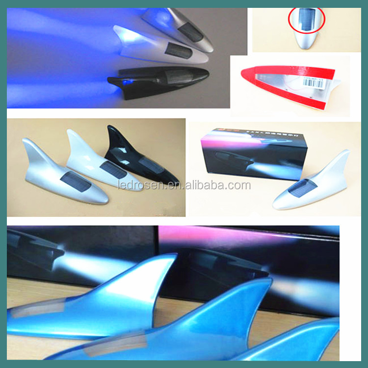 2014 New Solar Powered Car Shark Fin Antenna Style LED Warning Flash Tail Light White
