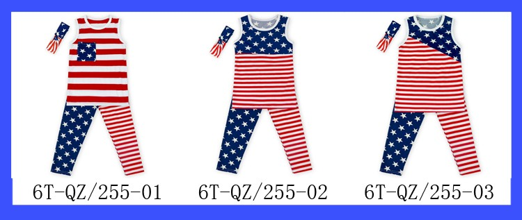 Hot Childrens Kids Boutique Flag Of The United States Patterns Clothing infant National Day 4th Of July Clothes Set From China