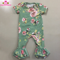Newborn Kids Clothing Ruffle Leg Romper Cotton Printed Infant Baby Girl Bodysuits