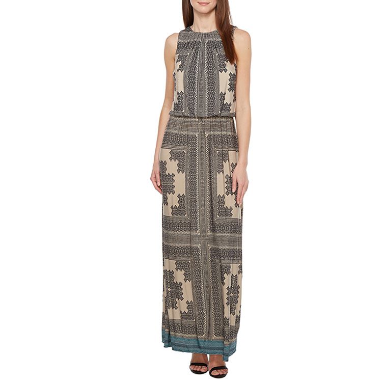 2016 Long Round Collar Maxi Size Batik African Print Dress Designs