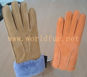 BY-013 women's sheepskin shearling gloves, double face sheepskin fur gloves, fur mitens