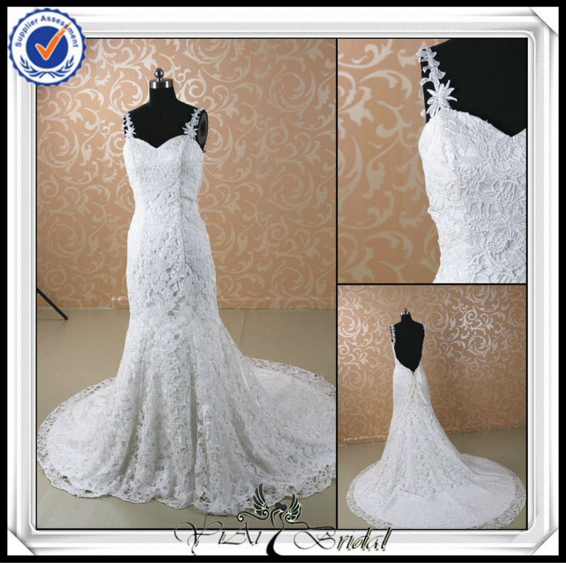 JJ0051 Sexy Low Back Lace Mermaid hijab wedding dress