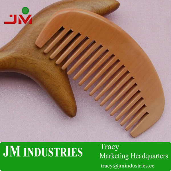 custom design logo printed peach wooden massage comb