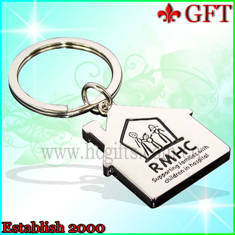 2013 Custom Promotional House shape metal keychain, Zinc alloy keychain for wholesale