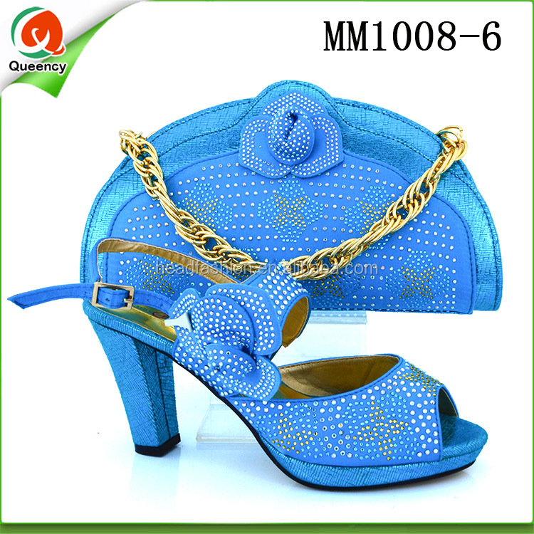 MM1008 Queency Guangzhou Shops 2017 Latest Design Wedding Bridal Italian Shoes Matching Bag Set with Stones
