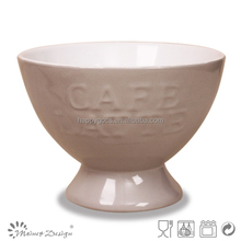 Japan style ebossed footed beautiful solid colour ceramic bowl with flower new design