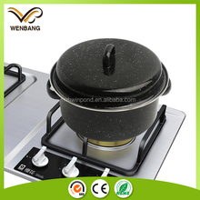 Hot sale cookware for south Korea black round enamel roasting pan with lid
