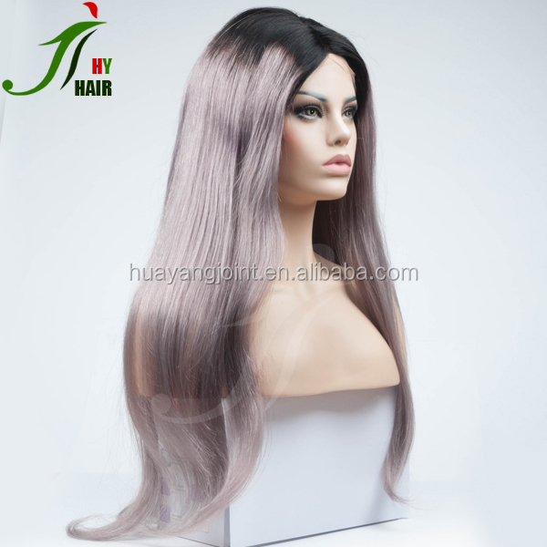 Brazilian Ombre Lace Front Wig 1B/Dark Grey Lace Front Wig Two Tone Dark Gray Human Hair Full Lace Wig