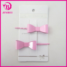 Hair Accessory Hair Clip Set:YiWu Yilibei Ladys' Simple Pink and Bule Metal Hair Clip Bobby Pins With Metal Bow
