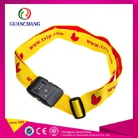 Bag Accessory Woven Logo Pvc Luggage Strap With Lock Handle