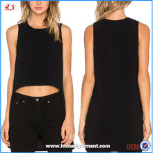 New Fashion Girls Tops Fashion Plain Crop Tops Wholesale Short Front and Long Back Top