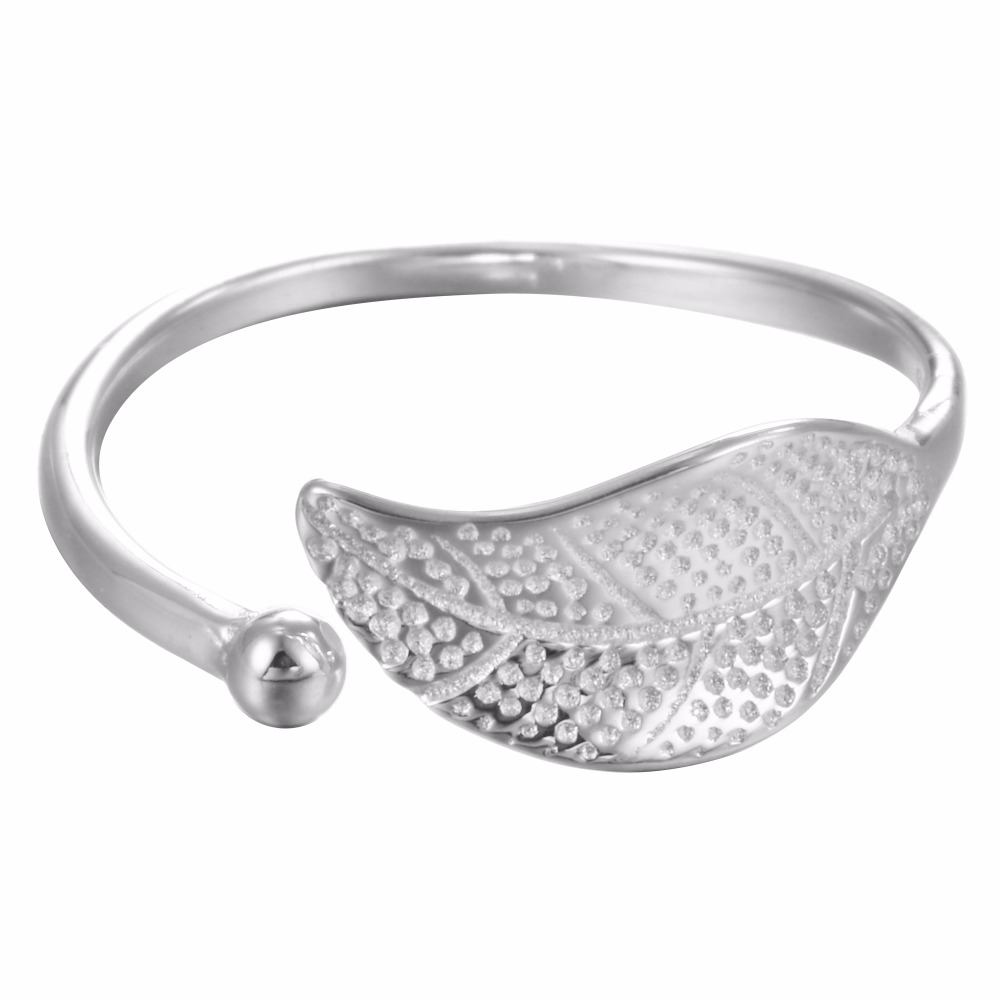 Real Pure 925 Sterling Silver Plant JewelryBig Leaf Wedding Rings for Women Adjustable Size Ring Fashion Sterling Silver Jewelry