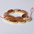 Beads For Jewelry Making CB49887 Red Banded Agate Edge Palted Flat Oval Beads, Golden Color