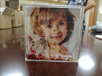 Baby Square Liquid Glitter Photo Frame Snow Globe