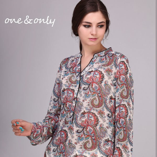 print chiffon big size blouse for middle aged women
