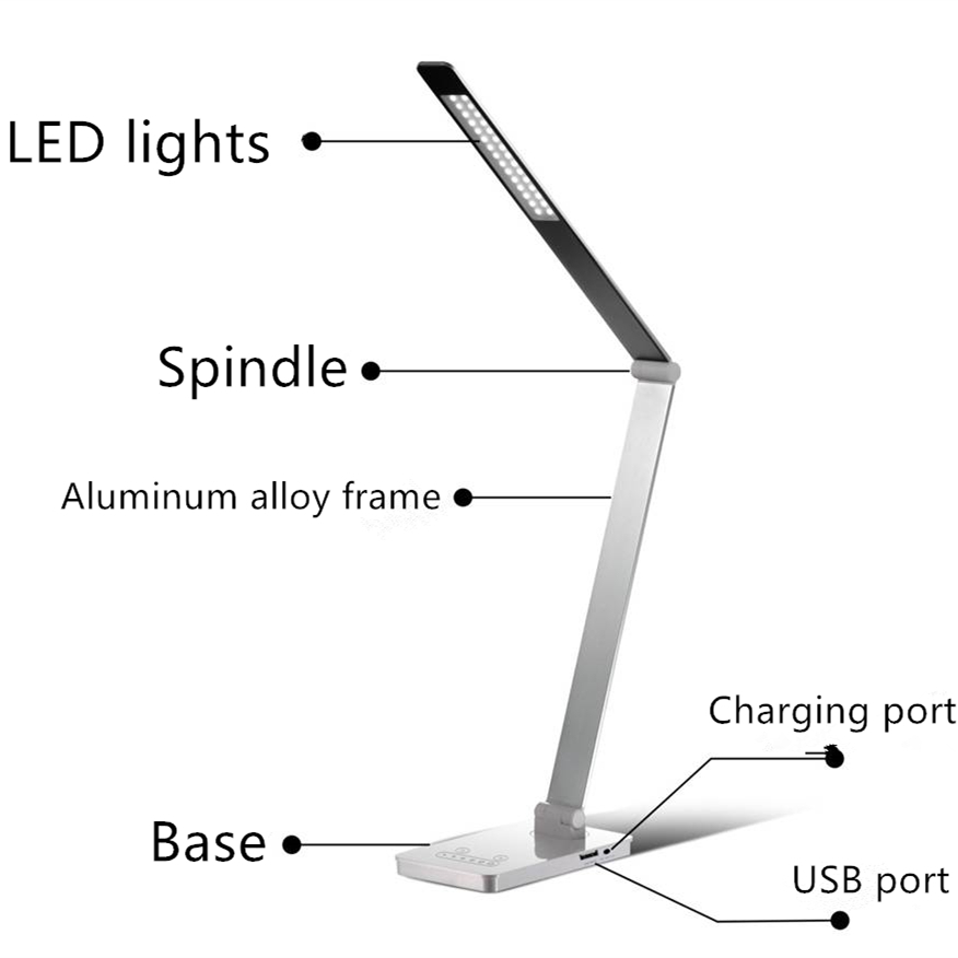 Led Rechargeable USB Port Driving Power DV12V 8W Dimmable Desk <strong>Lamp</strong>