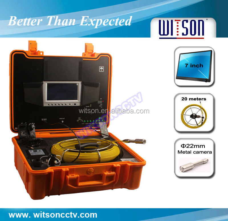 WITSON seesnake micro inspection camera with 20M-40M fiberglass push Cable