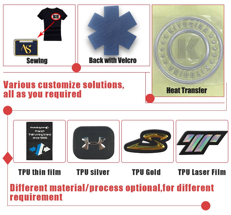 Iron on custom patches logo clothing high frequency TPU patch label