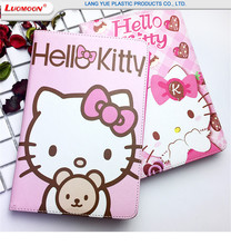 Lovely Hello Kitty Flip Tablet Cover Cases For iPad Air/Pro/Mini ,Leather Stand Case For Apple iPad Design With Cartoon Pattern