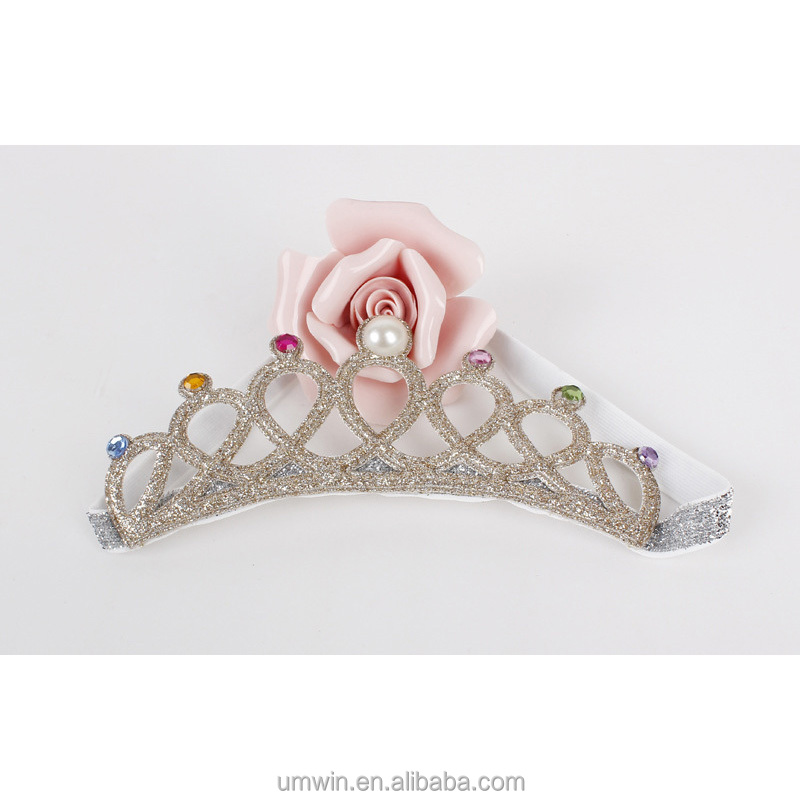 Fashion Baby Preference Style Crown Headdress Flower Elastic <strong>Headband</strong> for Party Girls HB004