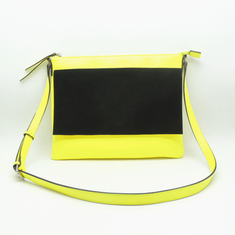 2017 Women fashion cheap pu neon yellow sling custom bag
