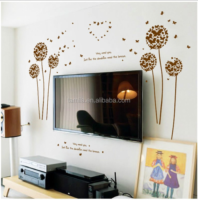 New Arrival Butterfly dandelion flower bedroom wallpaper for home decoration