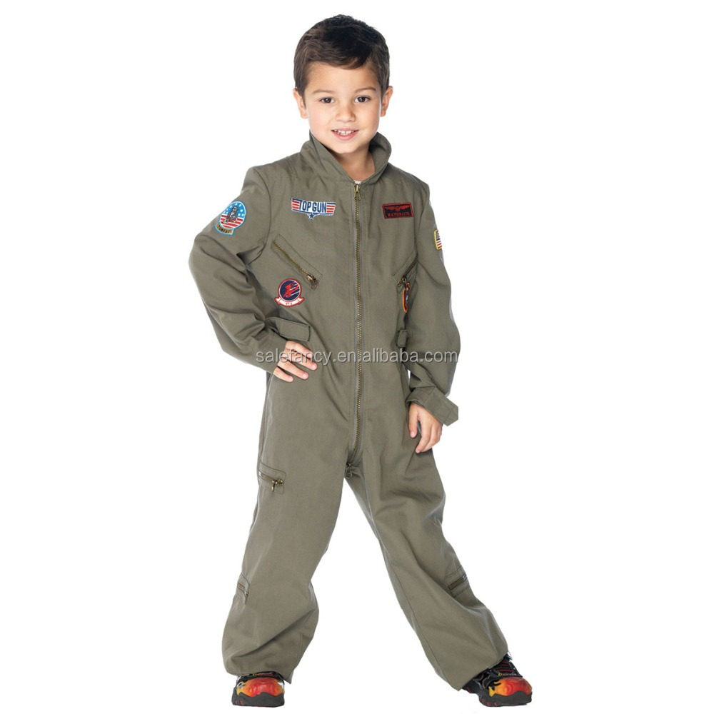 New Boys Top 10 Gun Manufacturers Flight Suit Halloween Costume Kids Children Outfit QBC-2286