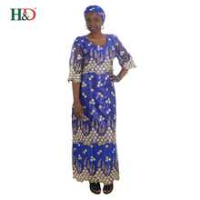 H & D Cotton Fabric Bazin Riche Getzner Embroidery Design Winter Women African Dresses For Wholesale