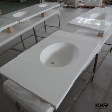 l shaped solid surface stone top modern bathroom vanity