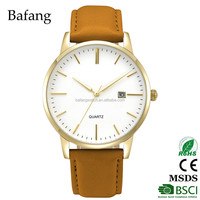 Designed logo gold bezel japan movt genuine leather watch with gold supplier
