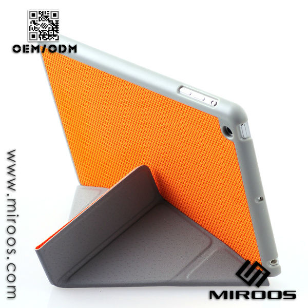 Unique Design Triangle Folded Leather Stand Cover Case for ipad mini