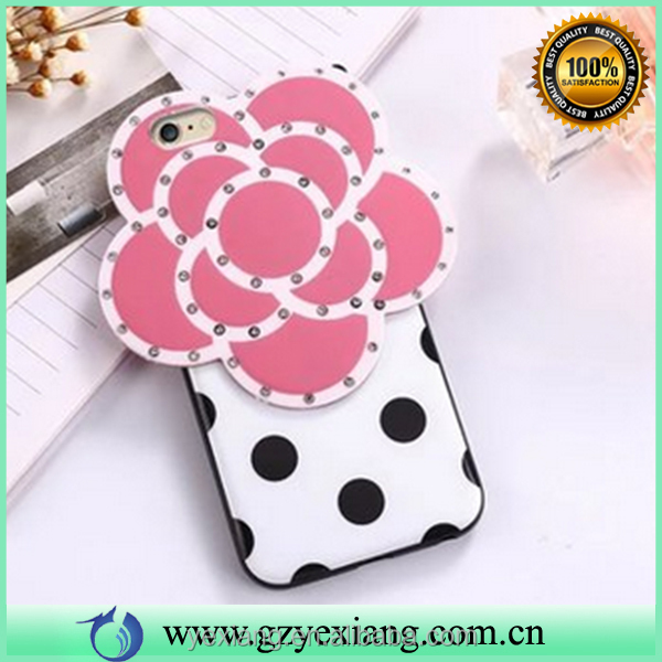 Mobile phone accessories bling diamond soft 3d camelia flower case silicon mobile phone case for iphone 6s back case cover